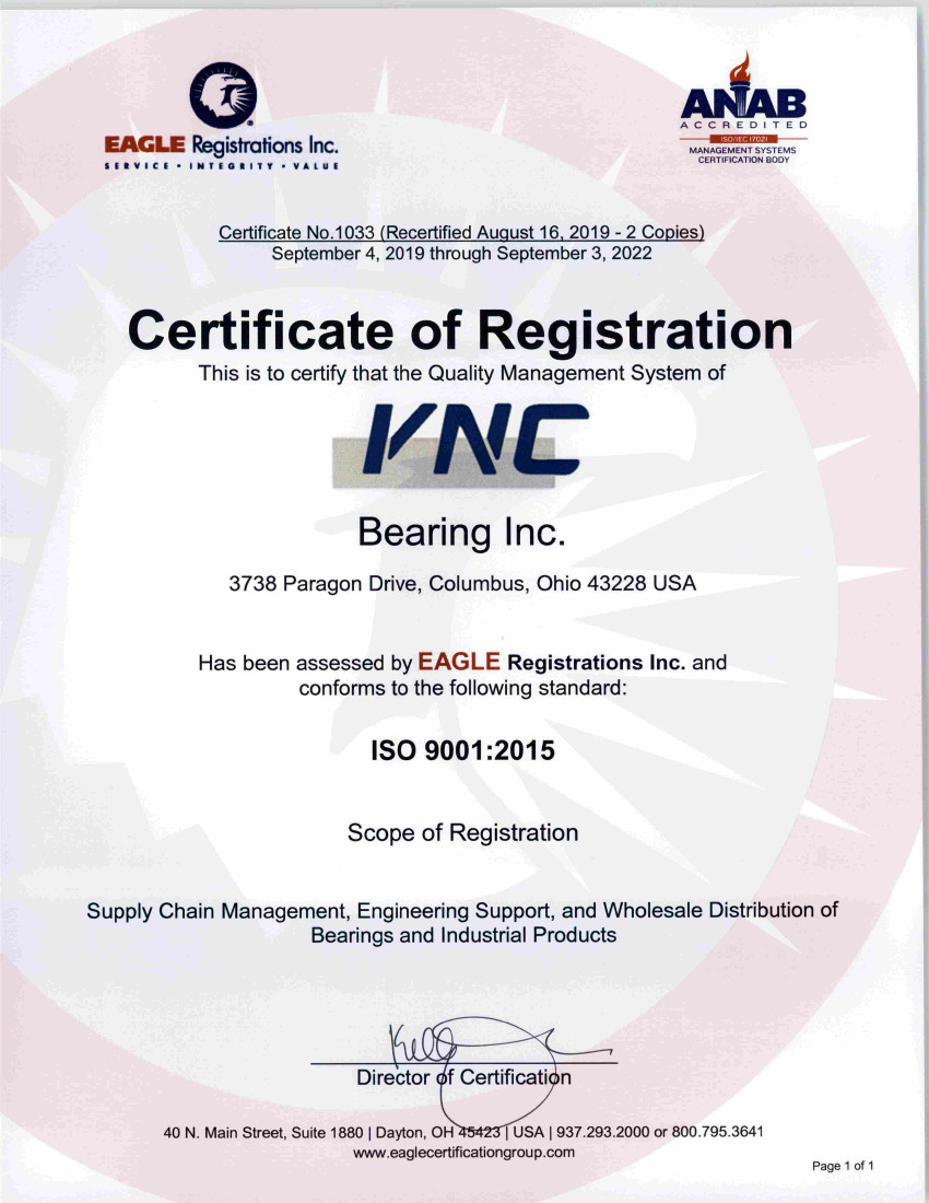 ISO 9001-2015 (VNC Bearing, thru September 3rd 2022)